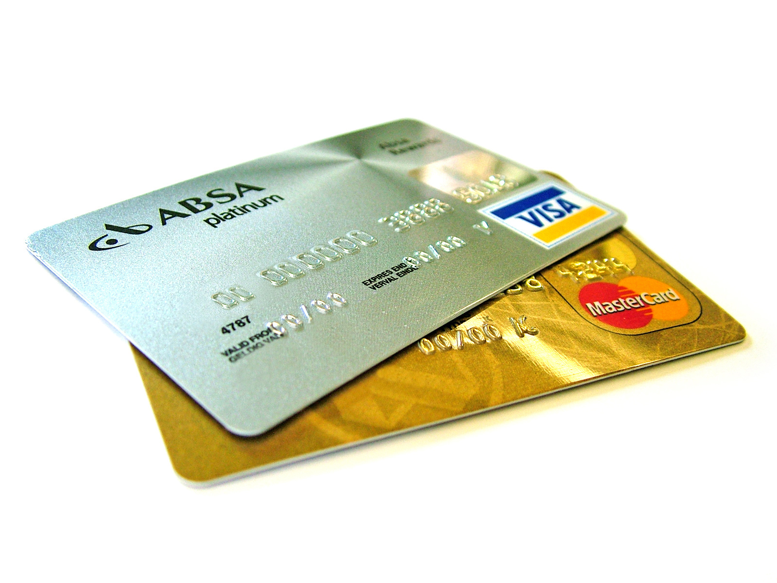 Depicts credit cards